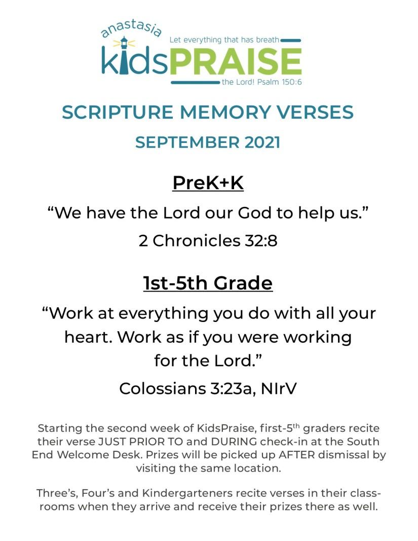Sept 2021 Scripture verses